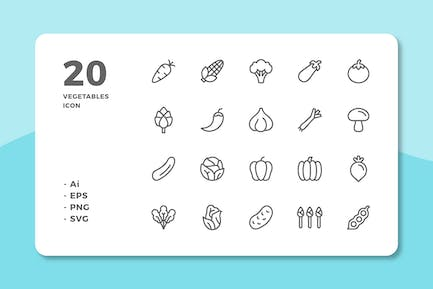 20 Vegetables Icons (Line)