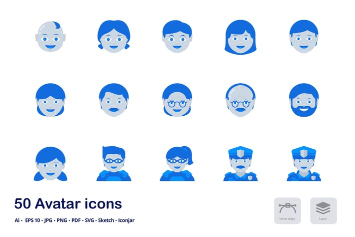Thumbnail for Avatars and Users Accent Duo Tone Flat Icons