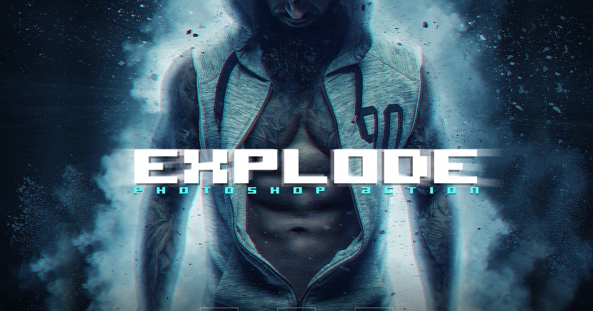 Download EXPLODE Photoshop Action + Glitch FX by SupremeTones