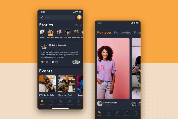 Thumbnail for New Feed Screen - Social Mobile UI Concept