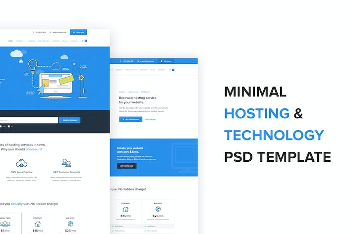 Thumbnail for Spark –  Hosting and Technology PSD Template