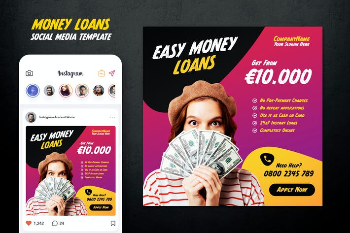 Thumbnail for Easy Money Loan Instagram Post Template