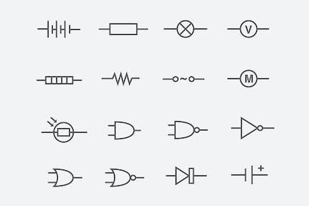 24 elektrische Schaltkreise Icons