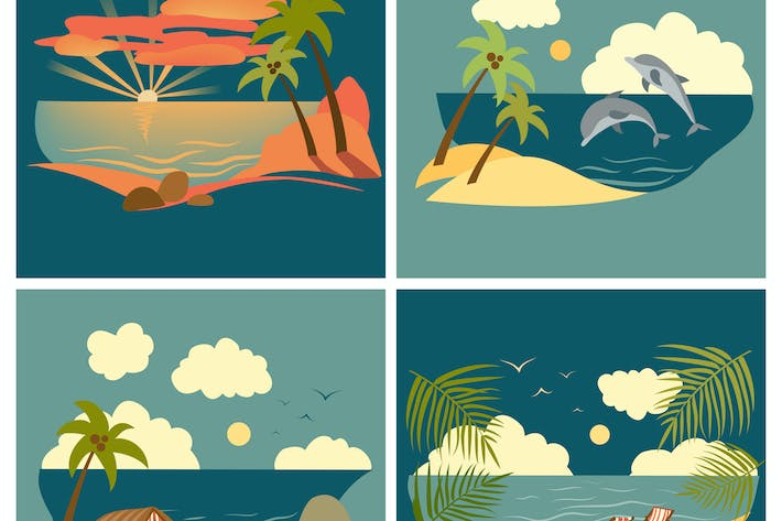 Thumbnail for Set of vector flat style sea landscape