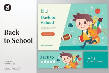 Back to school illustration elements