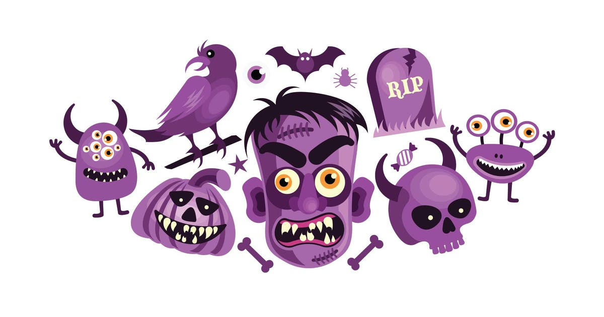 Download Set of Halloween Spooky and Scary Object Graphics by IanMikraz