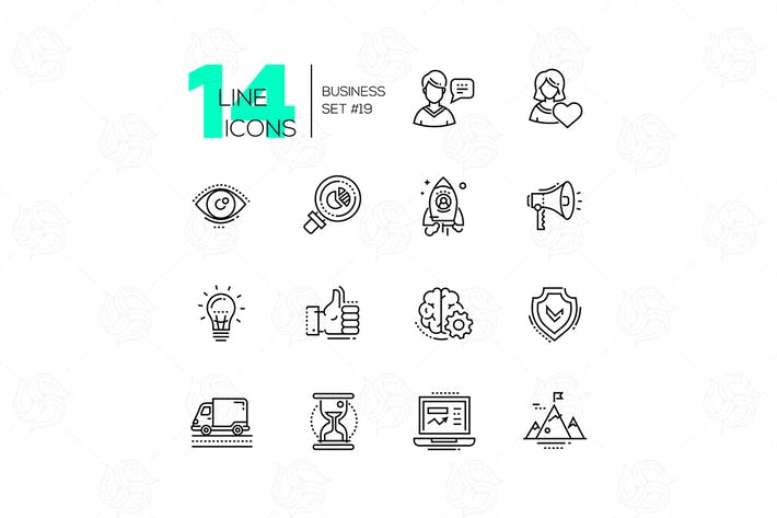 Thumbnail for Business - modern single line icons set
