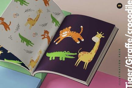 Tiger-Giraffe-Krokodil-Illustrationspaket