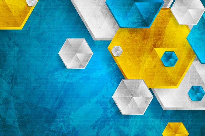 Colorful hexagons abstract background
