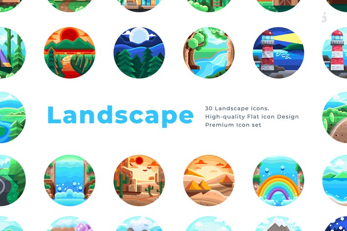 Thumbnail for 30 Landscape Icons - Flat