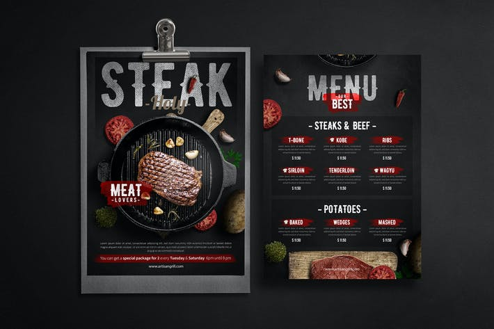 Thumbnail for Steak House Menu - Flyer