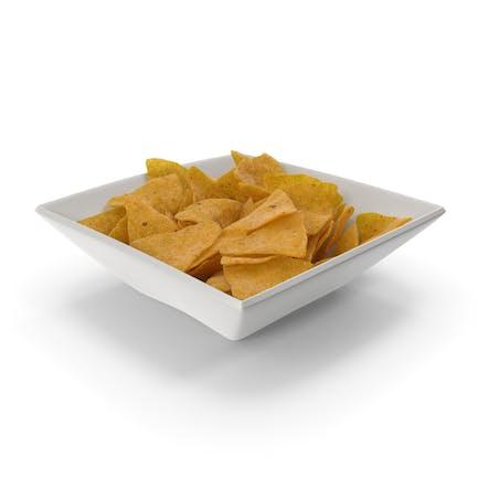 Square Bowl with Corn Tortilla Nacho Chips