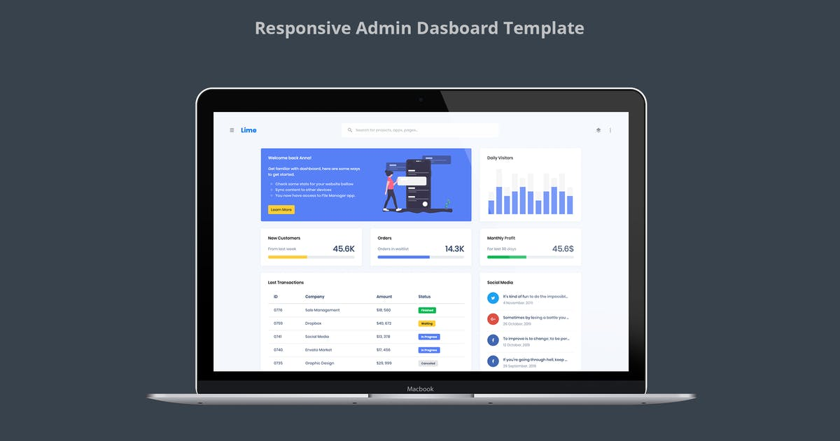 Download Lime - Responsive Admin Dashboard Template by stacks