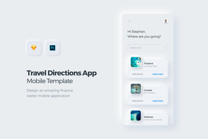 Thumbnail for Travel & Booking Mobile App UI Kit Template 1