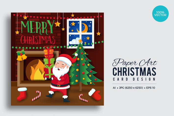 Thumbnail for Merry Christmas Square Vector Card Vol.11