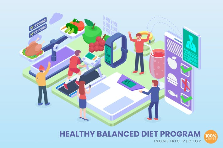 Isometric Healthy Balanced Diet Program Concept