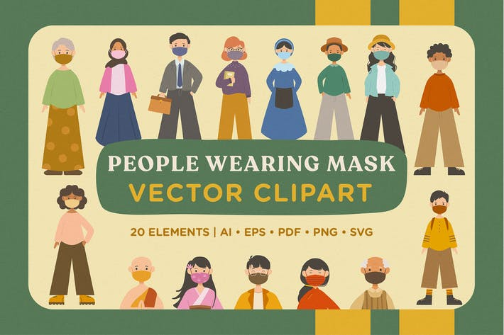 Thumbnail for People Wearing Mask Vector Pack