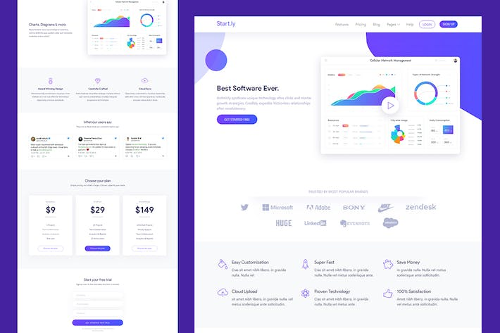 Thumbnail for Software & SaaS App Landing Template — Startly