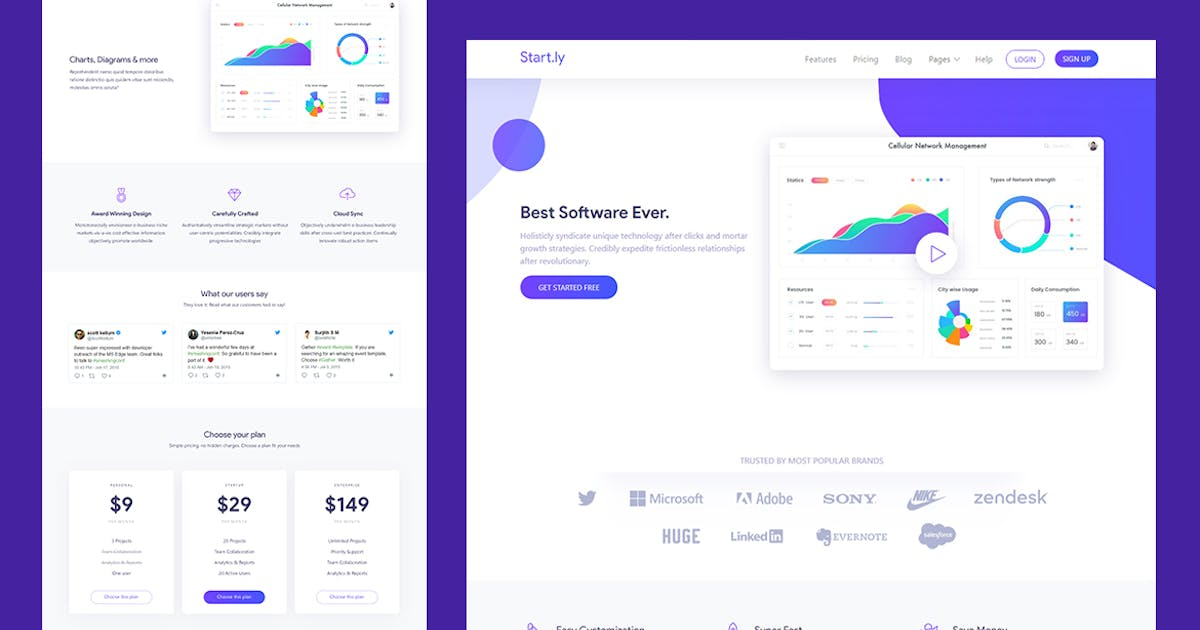 Download Software & SaaS App Landing Template — Startly by surjithctly