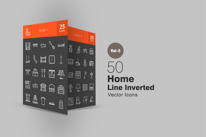 Thumbnail for 50 Home Line Inverted Icons