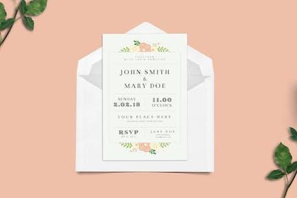 Simple Floral Wedding Invitation
