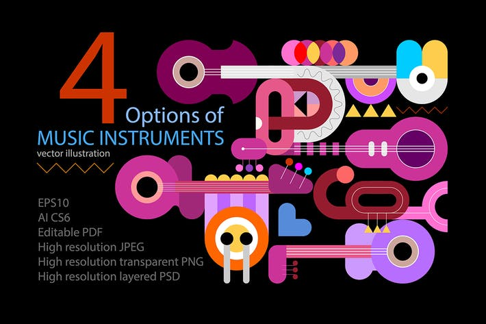 Thumbnail for 4 options of Music Instruments vector flat designs