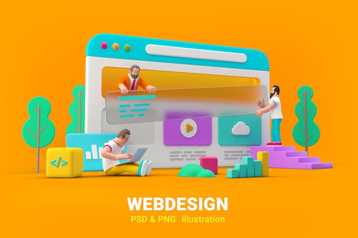 Thumbnail for Webdesign Website UI UX Design 3D illustration
