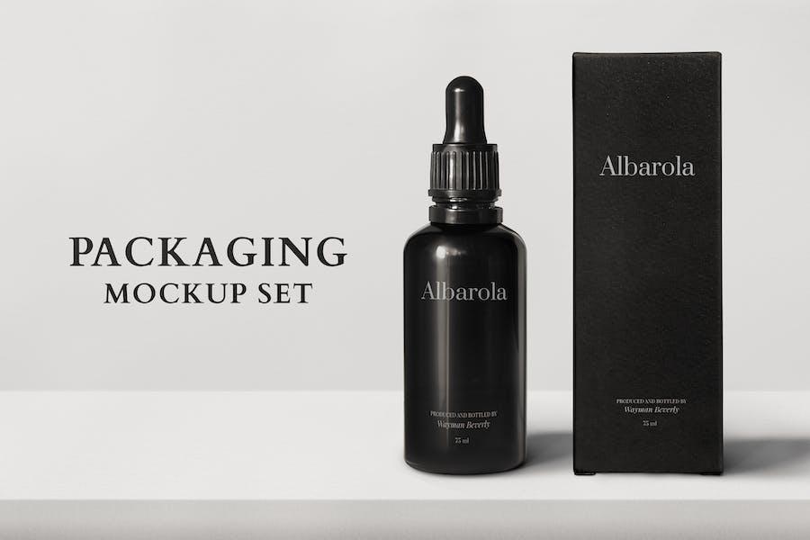 Verpackung Mockup PSD mit Tropfflasche und Box