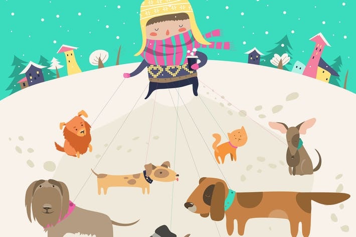 Thumbnail for Girl, dog-walker, taking pack of dogs for a walk