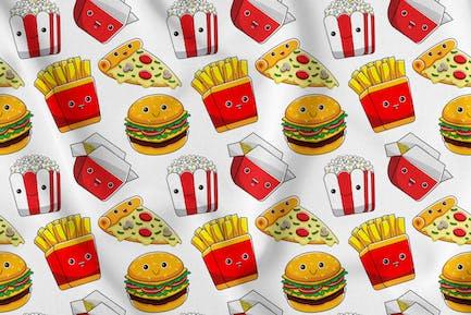 Fastfood Character Seamless Pattern