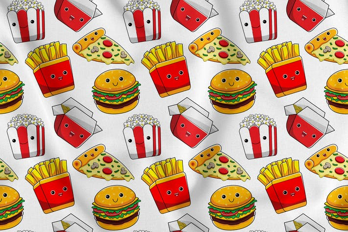 Thumbnail for Fastfood Character Seamless Pattern