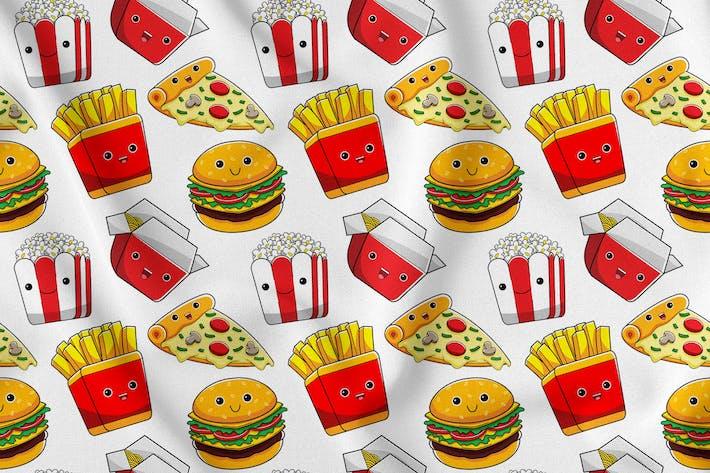 Thumbnail for Fastfood-Charakter Nahtloses Muster