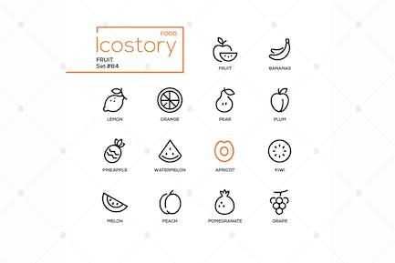 Fruit - conjunto de Íconos de estilo de diseño de línea moderna