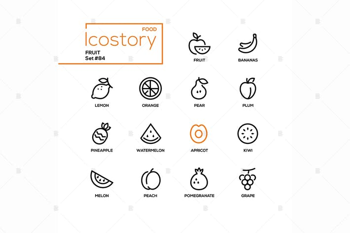 Thumbnail for Fruit - modern line design style icons set