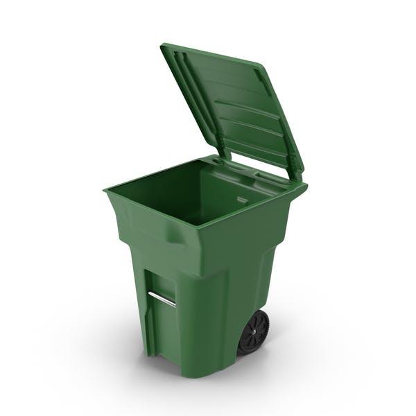 Зеленый открытый мусорный бак
