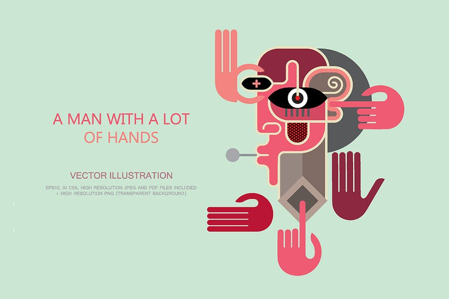 A Man With a Lot of Hands vector illustration