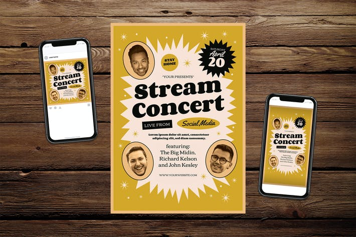 Thumbnail for Live Stream Concert Flyer Set