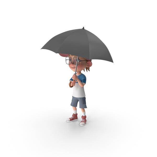 Thumbnail for Cartoon Boy Harry Holding Umbrella