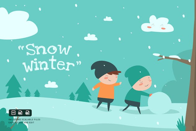 Snow Winter - Ilustration Template - product preview 0