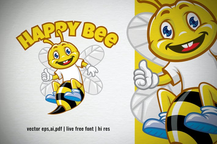 Thumbnail for Cartoon Happy Bee Logo
