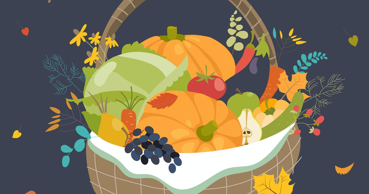 Wooden basket with vegetables. Happy Thanksgiving by masastarus