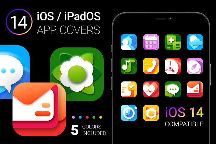 Thumbnail for iOS 14 App Icons | bright colors