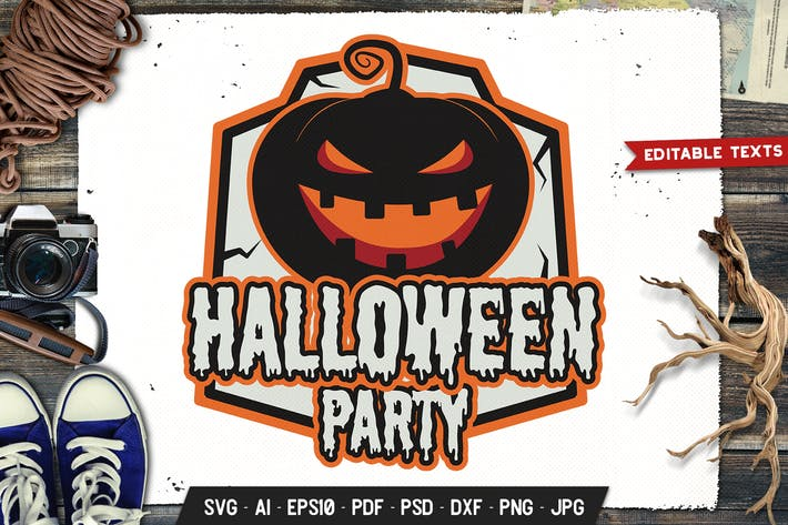 Halloween Party Logo Design Retro Vector Badge