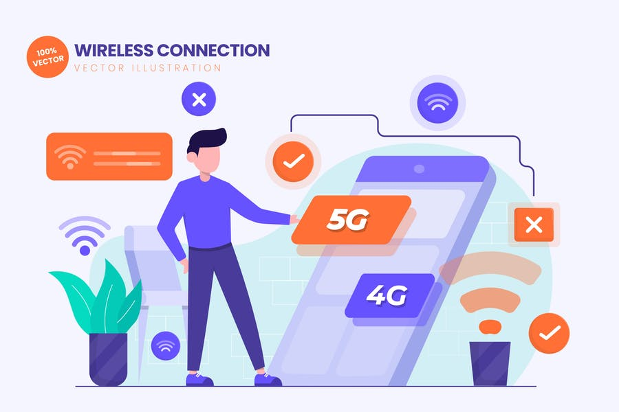 Wireless Connection Flat Vector Illustration