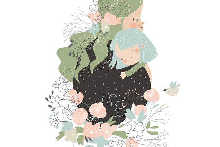 Thumbnail for Beautiful mother hugging her daughter in flowers.