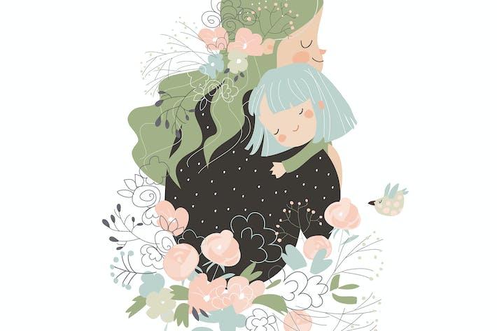 Thumbnail for Красивая мать обнимает дочь в цветах.