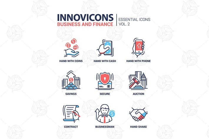 Thumbnail for Modern office and business line flat design icons