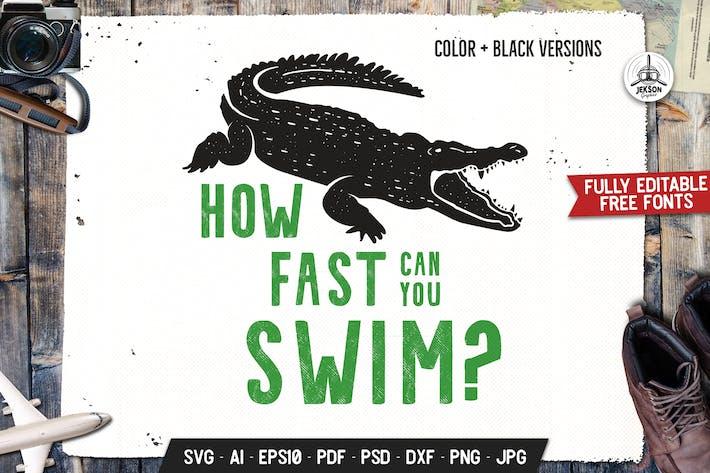 Cover Image For Wild Animal Graphics Crocodile Vector Illustratin
