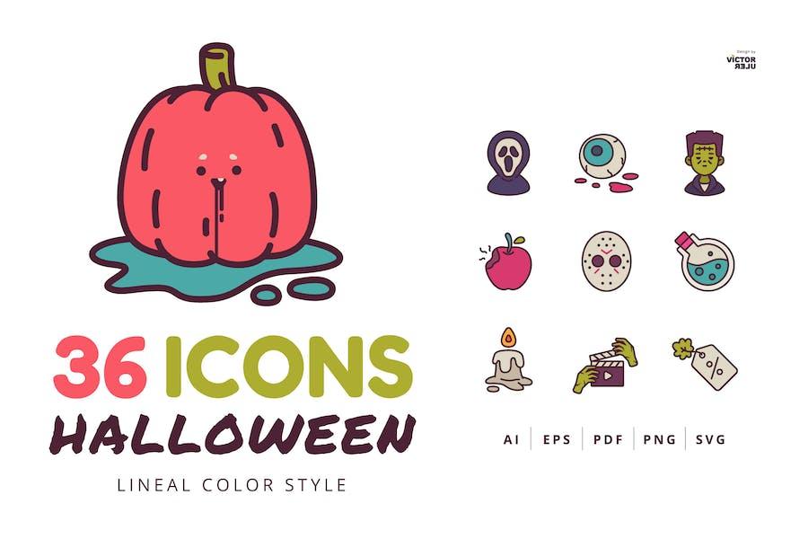 36 Хэллоуин Иконки Линейный Цвет Стиль