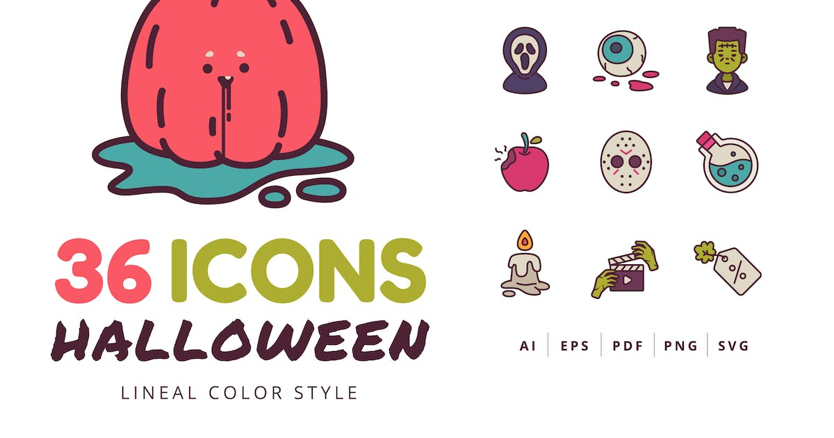Download 36 Halloween Icons Lineal Color Style by Victoruler